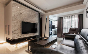 现代风格精致大理石电视背景墙装修效果图