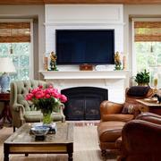 美式风格复古精致壁炉电视背景墙装修效果图