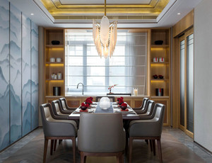 混搭风格时尚精美餐厅背景墙装修效果图
