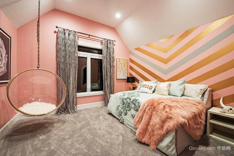 粉色温馨简欧风格公主房儿童房装修效果图