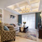 欧式风格精美客厅吊顶设计装修实景图
