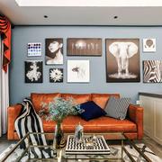 现代风格时尚客厅照片墙设计装修实景图