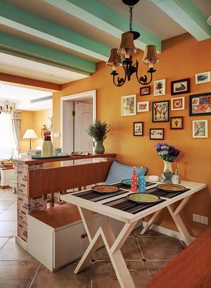 美式田园风格休闲餐厅照片墙装修效果图