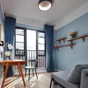 清新蓝色简单书房设计装修效果图