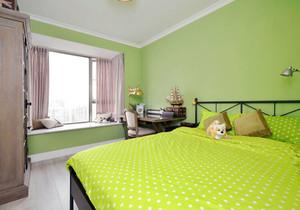 清新舒适绿色儿童房飘窗装修效果图
