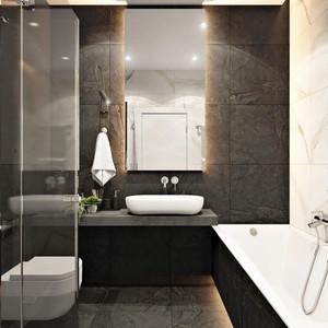 现代风格黑色时尚一居室室内设计装修图