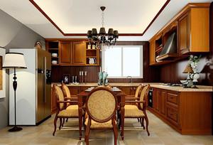 新中式风格精致棕色整体厨房装修效果图,室内多采用对称式的布局方式,格调高雅,造型简朴优美,色彩浓重而成熟。棕色的橱柜设计,时尚精致。