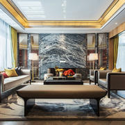 新中式风格精致别墅客厅设计装修效果图
