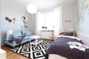 62平米北欧风格简约单身公寓设计实景图