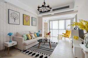 北欧风格浅色舒适客厅设计装修效果图