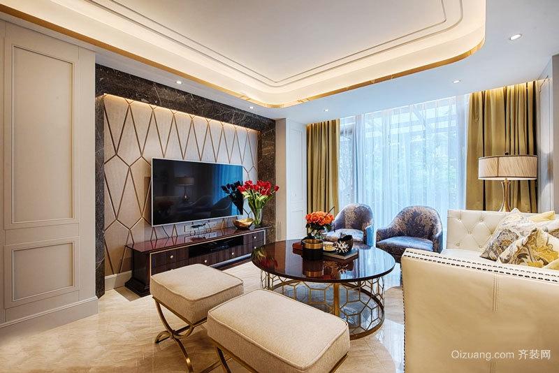 欧式风格精美时尚客厅电视背景墙设计装修效果图