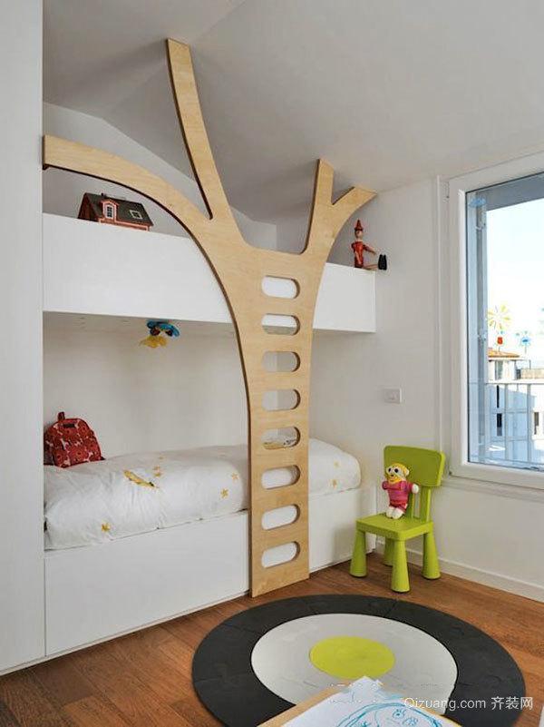 现代简约风格创意双层床儿童房装修效果图