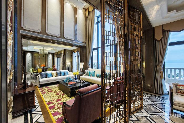 新中式风格奢华客厅隔断设计装修效果图