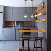 现代风格灰色开放式厨房吧台装修效果图