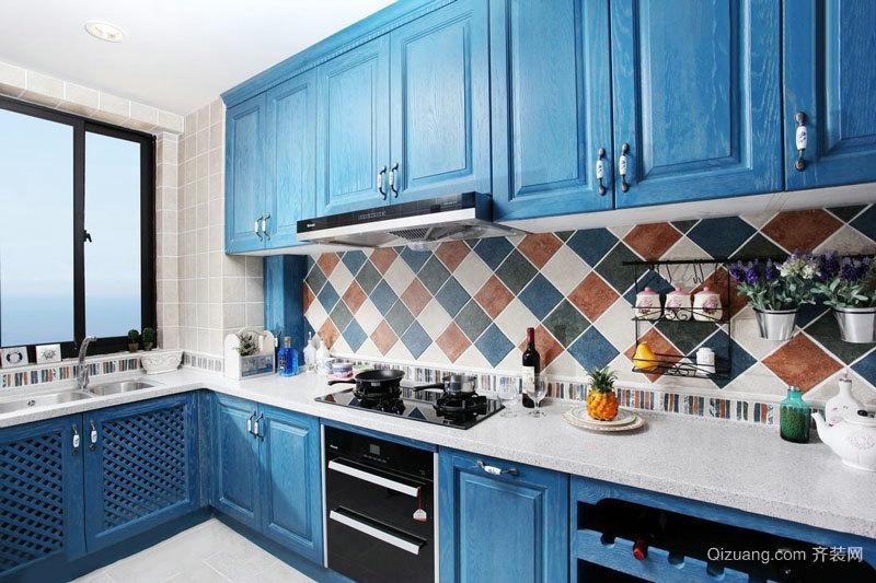 地中海风格蓝色精致厨房橱柜装修效果图