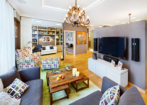 混搭风格时尚多彩两室两厅室内装修效果图