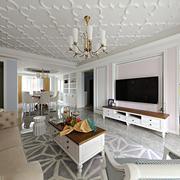美式风格精致客厅吊顶设计装修效果图