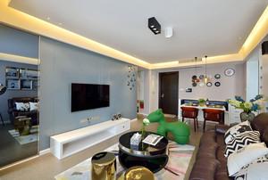 现代风格时尚精装两室两厅室内装修效果图
