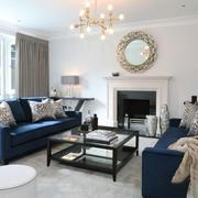新古典主义风格客厅壁炉设计装修效果图