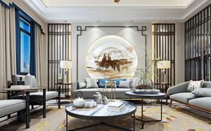 新中式风格典雅时尚客厅设计装修效果图