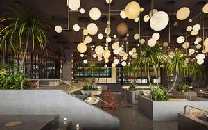 现代风格精美西餐厅隔断架装修效果图