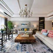 新中式风格精美客厅吊顶设计装修图
