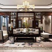 中式风格客厅博古架隔断设计装修效果图