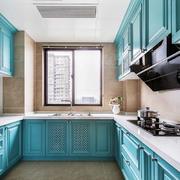 地中海风格精致天蓝色厨房橱柜装修效果图