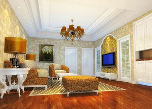 欧式精美客厅电视背景墙设计装修效果图大全