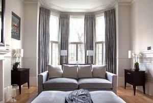 简欧风格温馨别墅客厅窗帘装修效果图