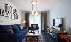 地中海风格温馨蓝色90平米室内装修效果图