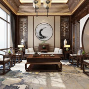 中式风格古典精致客厅隔断设计装修图