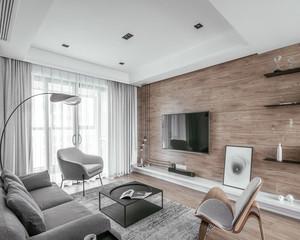 简约风格原木色客厅背景墙效果图