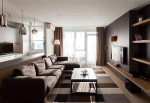 现代酷黑简约客厅装修风格效果图