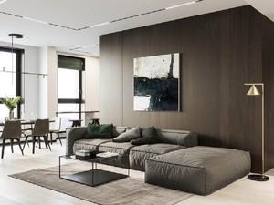 胡桃木饰面客厅装修设计效果图