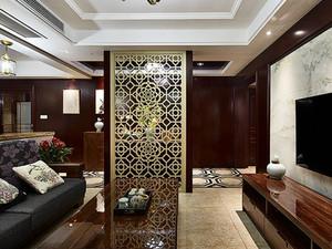 整体采用黑色和深红色作为室内的主色调,体现出了浓郁的中式风格。客厅与其他区域之间的隔断,更是体现出了装饰本身的特色,并且起到了非常好的效果。