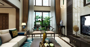 此别墅为新中式风格的装修,整体是以深褐色为主题色,非常的豪华大气,别墅的客厅挑高非常的高,让人有一种释放的感觉,这种设计在很多高端别墅中都有体现。