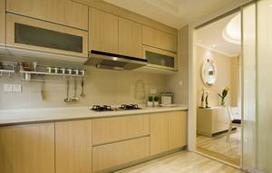 现代简约风格原木色厨房装修效果图