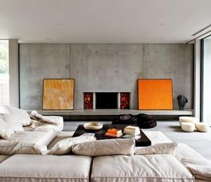 混凝土时尚精美客厅设计装修效果图赏析