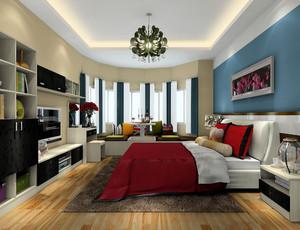 这款卧室的飘窗的设计显得非常的有特色,首先它圆弧形的造型就已经足够特别了,它与墙面、被套的颜色不同,采用的是浅浅的颜色,所以整体显得非常的清新和舒适。