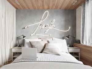 时尚创意后现代风格卧室背景墙设计装修图