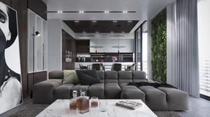 灰色精美时尚现代风格客厅设计装修效果图