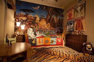 儿童房榻榻米书桌衣柜一体设计效果图