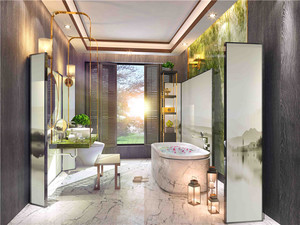 一居室新中式卫生间装修效果图
