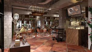复古风格loft咖啡厅装修效果图