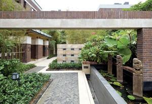 现代简中式别墅入户花园装修效果图