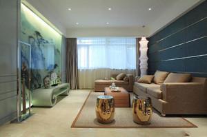 新中式别墅一进门入户花园效果图