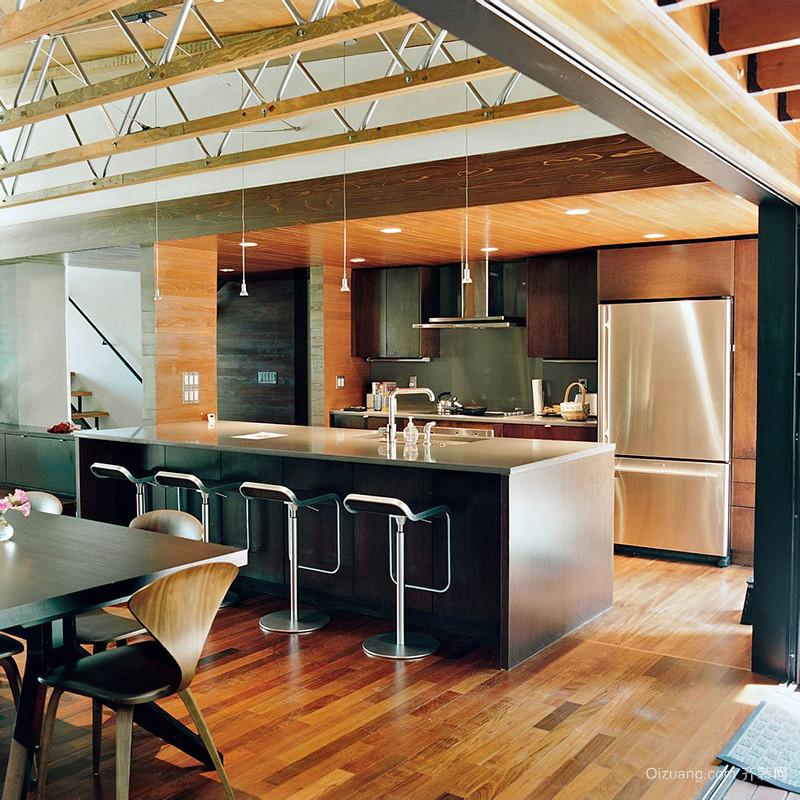 新中式家庭小吧台装修效果图