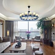 一居室中式客厅剪影吊顶装修效果图赏析