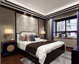 中式别墅卧室床头背景墙效果图